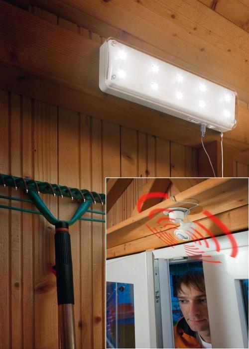 l mpara solar 10 leds con sensor movimiento para casetas y