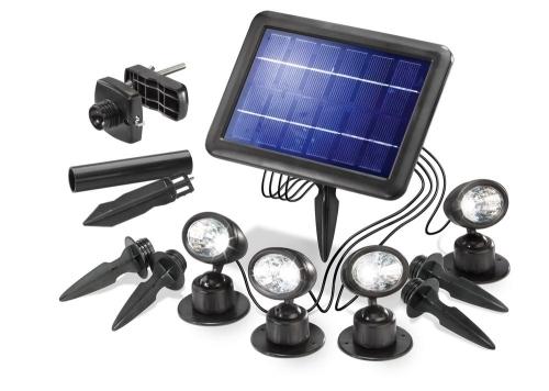 Quattro power 4 focos solares de led para jard n tfv - Focos led solares ...