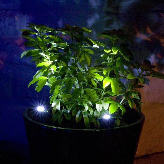 2 focos solares de 6 leds blancos para jard n tfv solar for Focos para exterior jardin