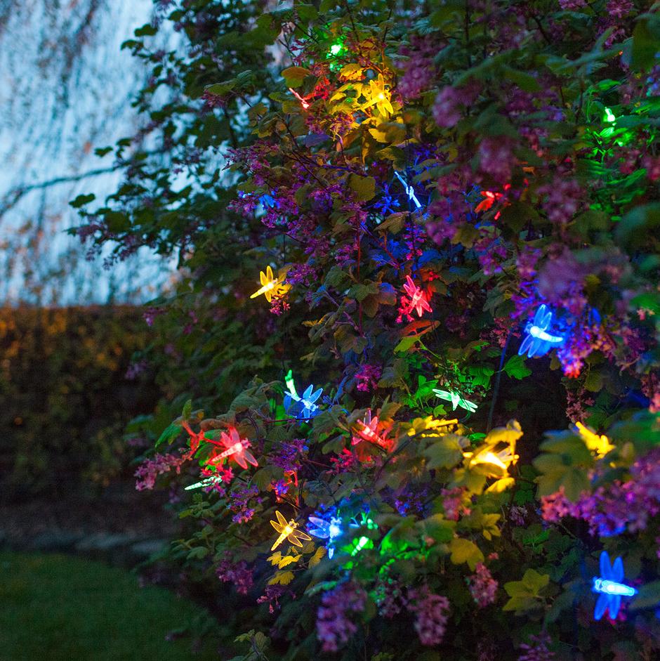 Guirnalda de 30 lib lulas de leds de colores con placa - Luz jardin solar ...