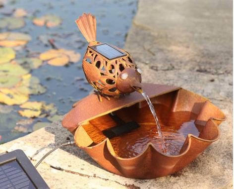 Fuente solar con pajarito ting tang de metal tfv solar - Fuentes solares para jardin ...