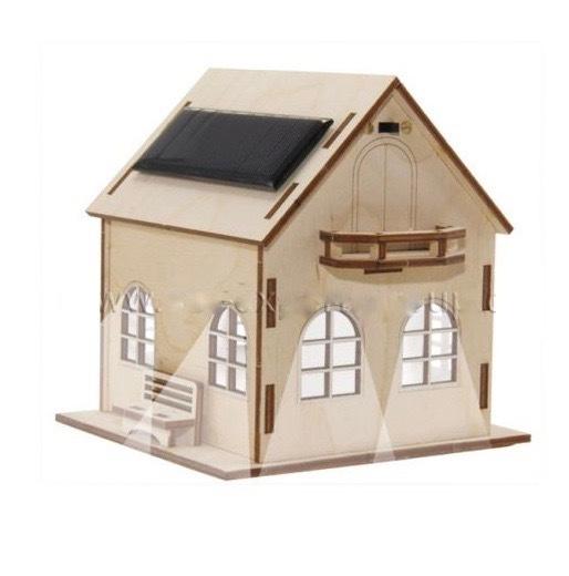 Maqueta casa solar con luz tfv solar for Casas de madera shop