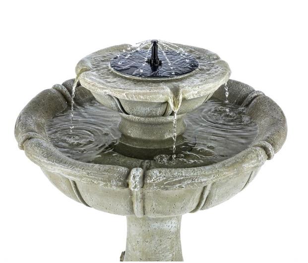 Fuente solar imitaci n piedra abrevadero de aves tfv solar for Bomba de agua para fuente de jardin
