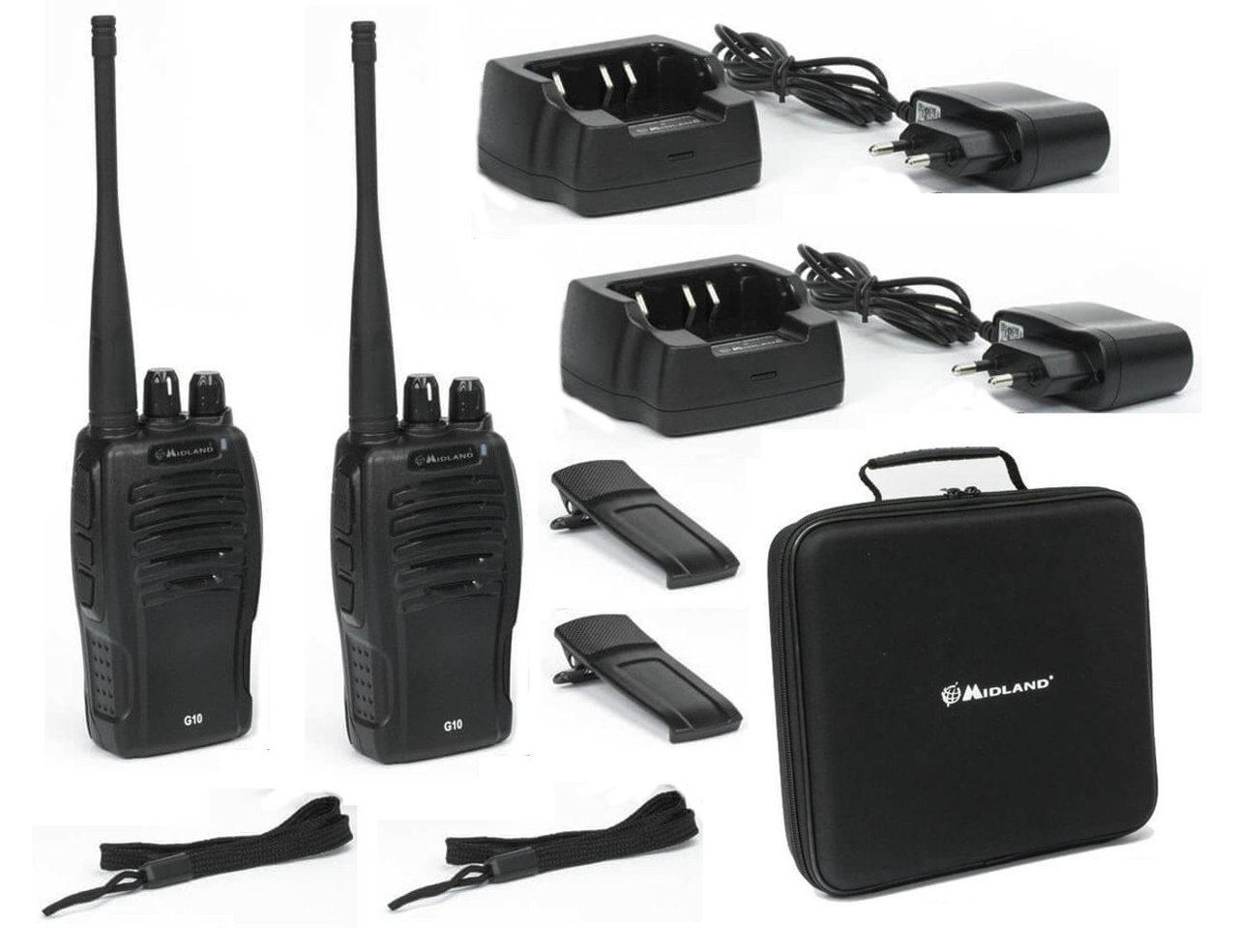 2 Walkie Talkies Midland G10 con maleta de transporte