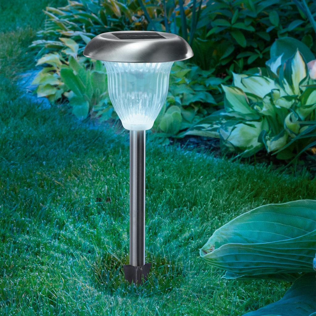 Baliza solar de led para jard n luz blanca bicolor tfv - Lampara solar jardin ...
