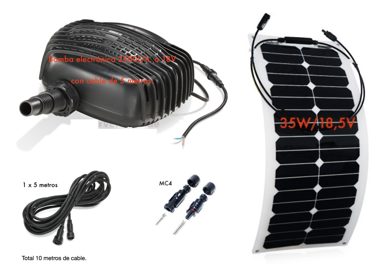 Kit bombeo solar para estanques 2500 35 tfv solar for Kit estanque jardin