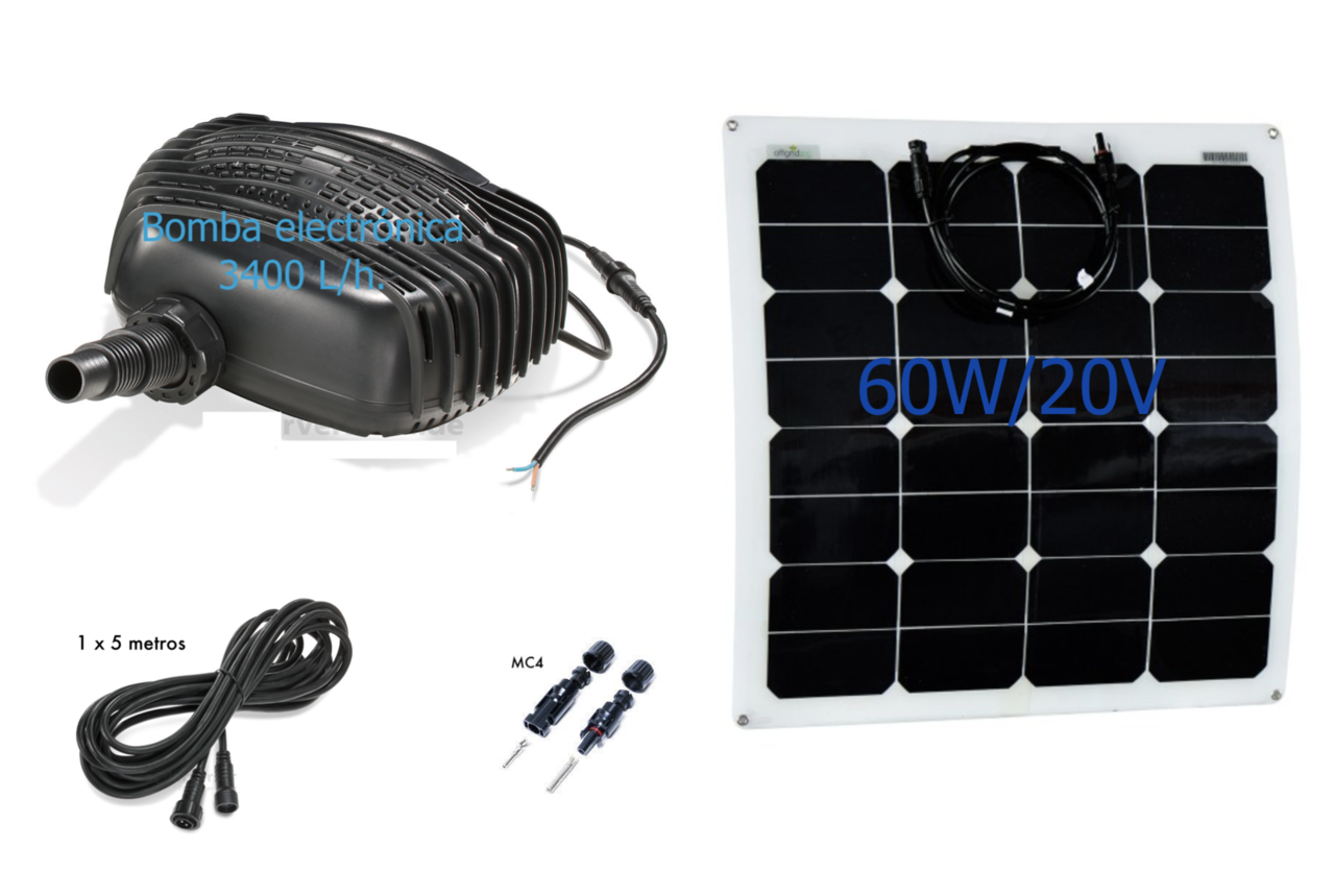 Kit de bomba solar para estanque 3400l h tfv solar for Kit estanque jardin