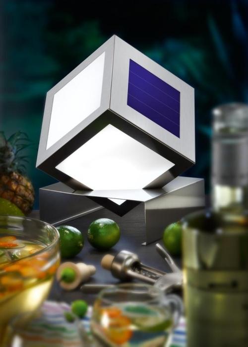 Cubo solar led de dise o en acero inox tfv solar - Antorchas solares para jardin ...