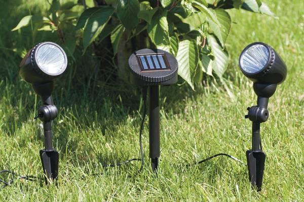 2 focos solares de suelo con 3 leds y placa solar tfv - Focos solares jardin ...