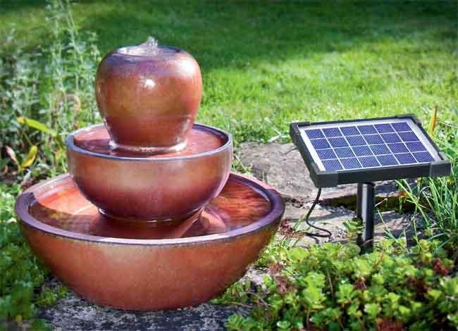 Fuente solar de cer mica 3 niveles rhodos tfv solar - Fuente solar jardin ...