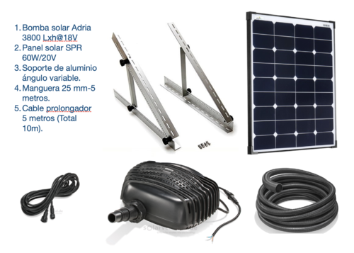 Kit bombeo solar 3800L/h para estanques