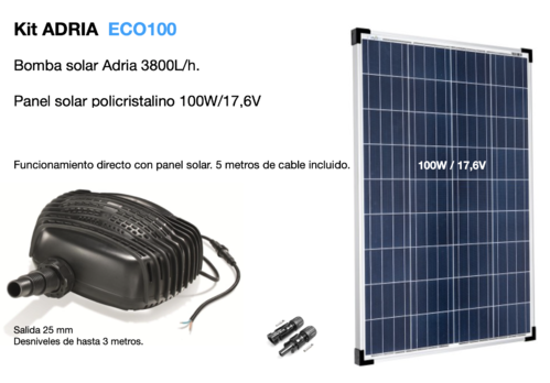 Kit de bombeo solar para estanques ADRIA ECO100